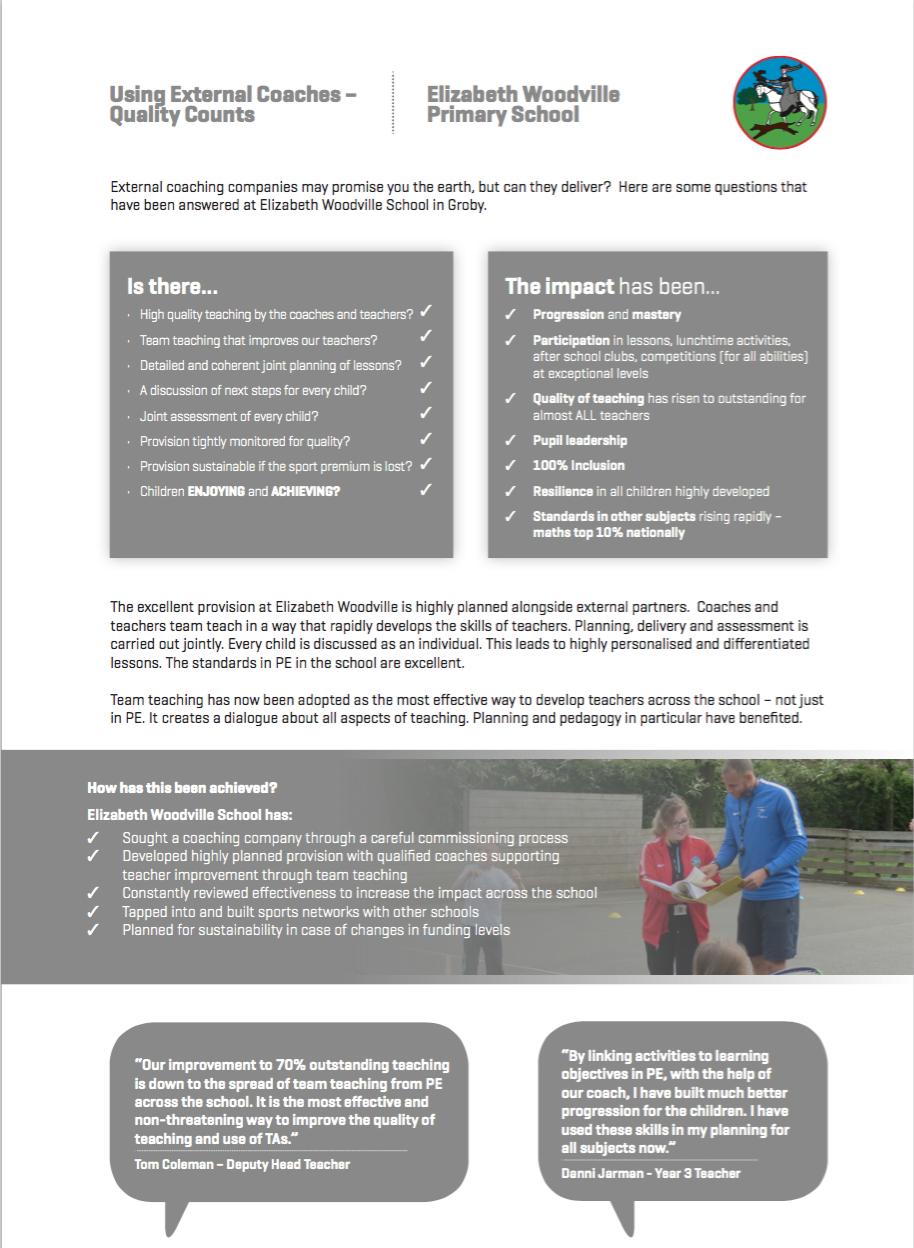 PE & School Sports Premium | Elizabeth Woodville Primary School